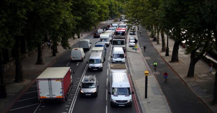 Cars sit in a traffic jam along the Embankment during the morning rush hour in central London