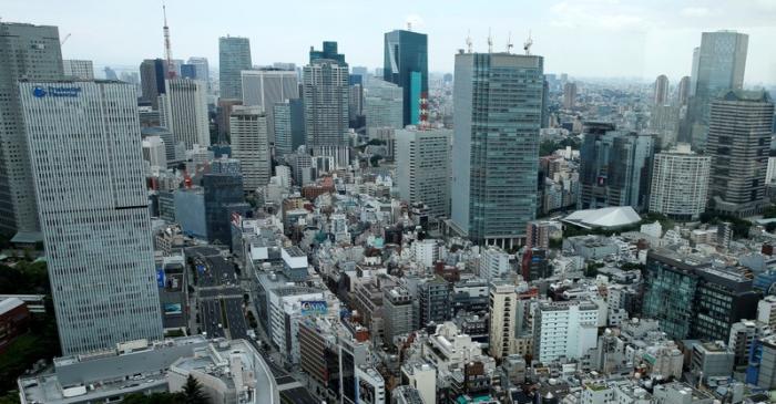 Tokyo's Akasaka business district is seen in Tokyo