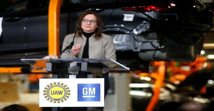 FILE PHOTO: General Motors Chief Executive Officer Mary Barra announces a major investment
