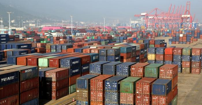 Containers are seen at a port in Lianyungang, Jiangsu