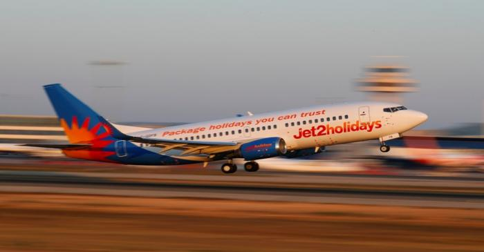 A Jet2 Boeing 737 airplane takes off from the airport in Palma de Mallorca