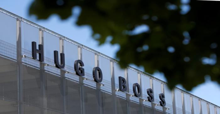The Hugo Boss logo is seen on a store in Metzingen