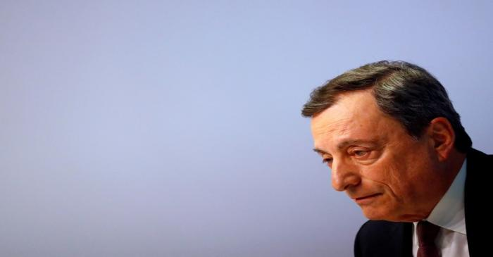 FILE PHOTO: Mario Draghi, President of the European Central Bank (ECB) holds a news conference