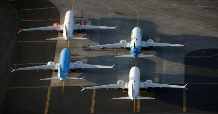 FILE PHOTO: An aerial photo shows Boeing 737 MAX aircraft at Boeing facilities at the Grant