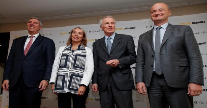 Newly-appointed interim Deputy Managing Directors Murguet and de los Mozos, interim CEO Delbos