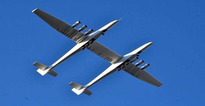 The world's largest airplane, built by the late Paul Allen's company Stratolaunch Systems,