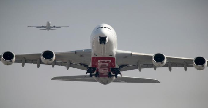 FILE PHOTO: An Emirates Airline Airbus A380 plane takes off from Dubai International Airport in