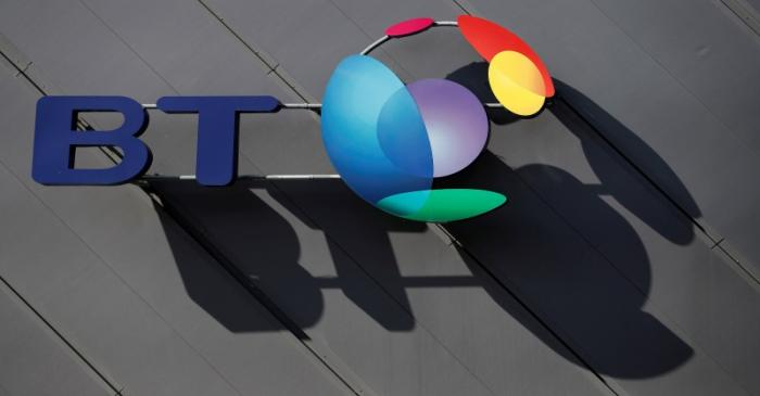 FILE PHOTO: A BT (British Telecom) company logo is pictured on the side of a convention centre
