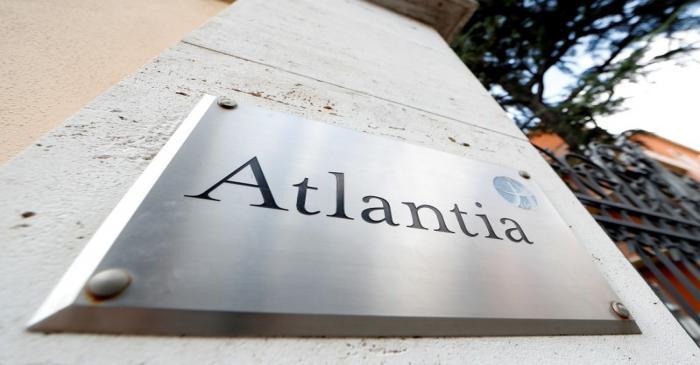 FILE PHOTO: An Atlantia Group sign outside the company's Rome headquarters