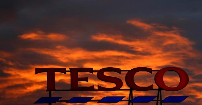 FILE PHOTO: A company logo is pictured outside a Tesco  supermarket in Altrincham northern
