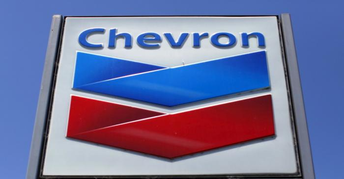 File photo of a Chevron gas station sign in Del Mar, California