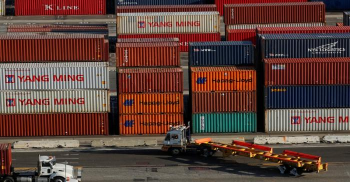 FILE PHOTO: Shipping containers are pictured at Yusen Terminals at thew Port of Los Angeles