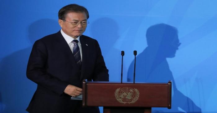 South Korea's President Moon Jae-in arrives to speak during the opening of the 2019 United