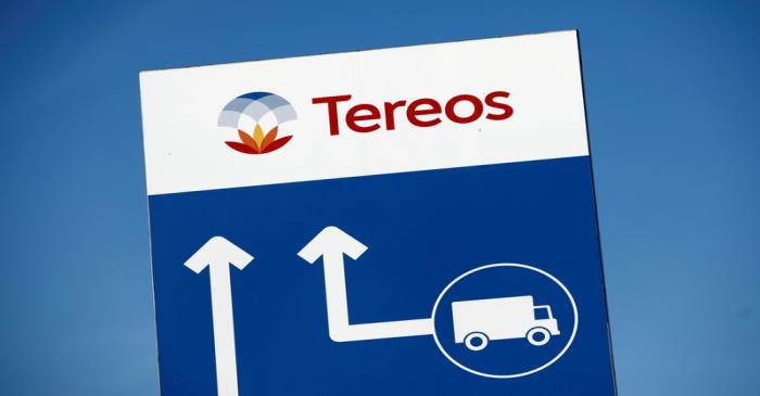 FILE PHOTO: The Tereos logo is displayed at a sugar beet processing plant in