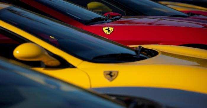 FILE PHOTO: A group of Ferrari owners park their cars to show on display at the SVGT car