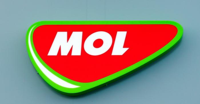 FILE PHOTO: Logo of Hungarian oil and gas group MOL at the company's refinery in Szazhalombatta