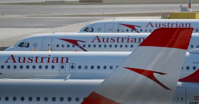 FILE PHOTO: Planes of Lufthansa unit Austrian Airlines are parked at Vienna International