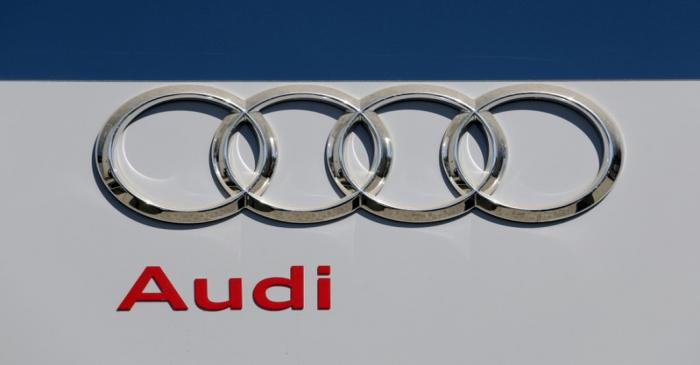 The logo of Audi carmaker is seen at the entrance of a showroom in Nice