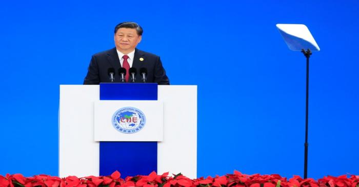 Chinese President Xi Jinping delivers a speech at the opening ceremony of the second China