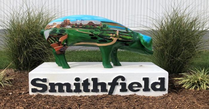 A sculpture adorns Smithfield Foods' hog slaughterhouse in Smithfield