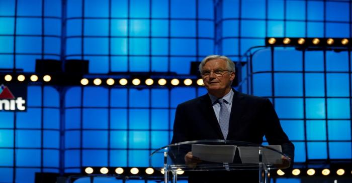 The European Commission Brexit chief negotiator Michel Barnier speaks during the Web Summit in