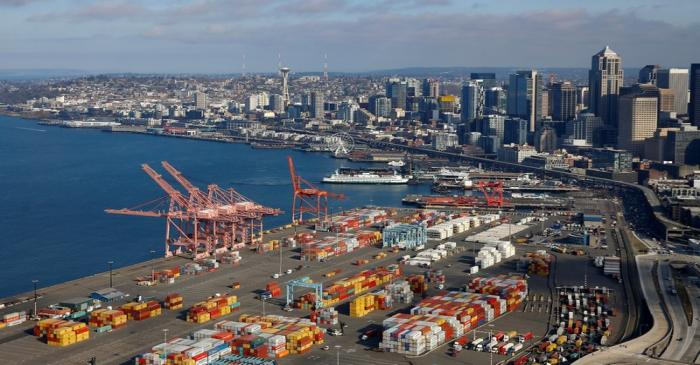 FILE PHOTO: An aerial photo looking north shows shipping containers at the Port of Seattle and