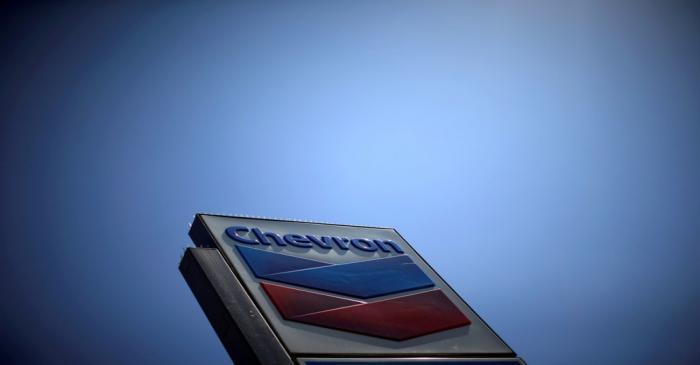 FILE PHOTO: Chevron (CVX)'s logo is seen in Los Angeles