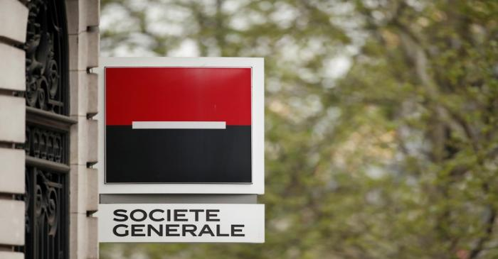 FILE PHOTO: The logo of French bank Societe Generale is pictured at a bank buidling in Paris