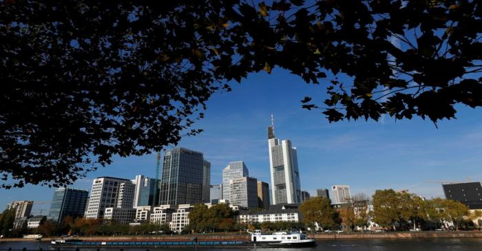 The skyline with its banking towers is photographed on a sunny autumn afternoon in Frankfurt