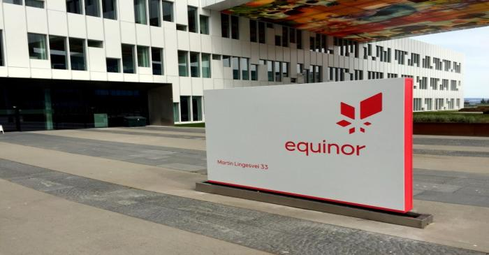FILE PHOTO: An Equinor sign at the company's headquarters in Norway