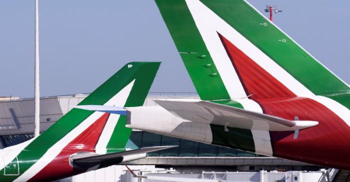 Alitalia airplanes are pictured at Leonardo da Vinci-Fiumicino Airport in Rome