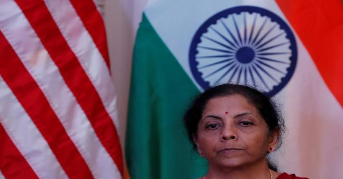 India's Finance Minister Nirmala Sitharaman attends a joint news conference with U.S. Treasury