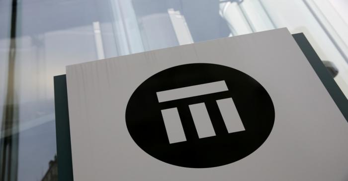 FILE PHOTO: The logo of the world's second largest reinsurer Swiss Re is seen outside the