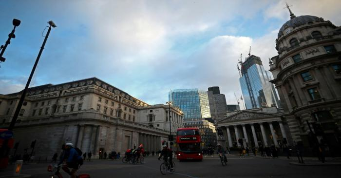 FILE PHOTO: The Bank of England and the Royal Exchange are seen in the City of London