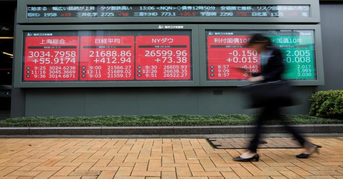 A woman walks past an electric screen showing world markets indices outside a brokerage in