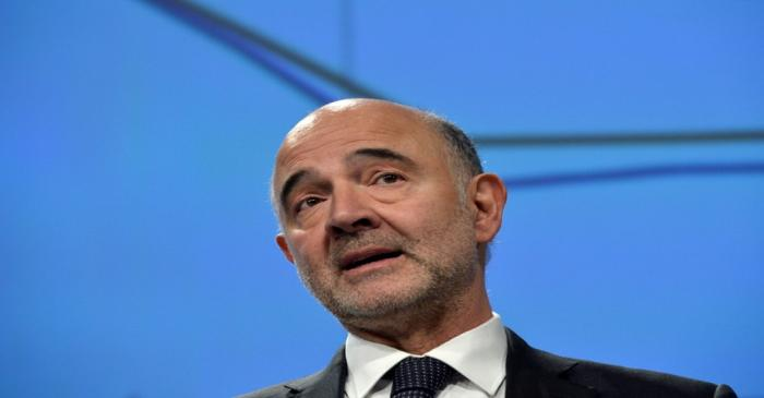 European Commissioner for Economic and Financial Affairs Pierre Moscovici presents the EU