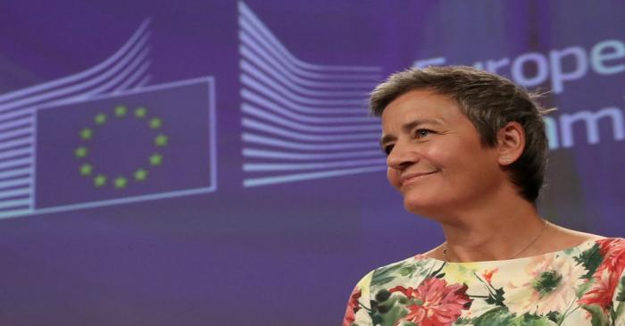 FILE PHOTO: European Competition Commissioner Margrethe Vestager addresses a news conference on