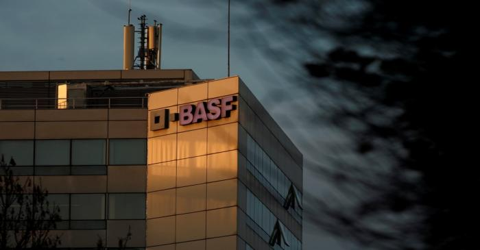 FILE PHOTO: The chemical company BASF building in Levallois-Perret is seen at sunset