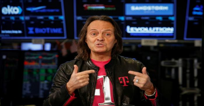 T-Mobile CEO John Legere speaks about his company's merger with Sprint during an interview on