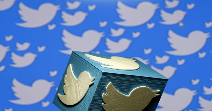 FILE PHOTO: A 3D-printed logo for Twitter is seen in this picture illustration made in Zenica