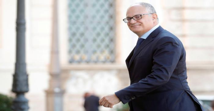 FILE PHOTO: Gualtieri arrives at Quirinale Presidential Palace in Rome