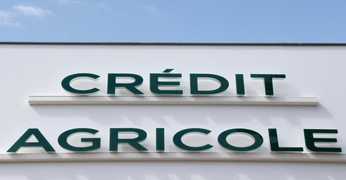 A logo of Credit Agricole is seen outside a bank office in Bordeaux
