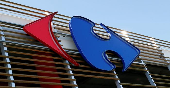 A Carrefour logo is seen on a Carrefour Hypermarket store in Merignac near Bordeaux
