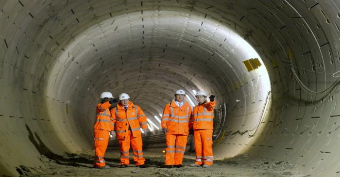 Britain's Prime Minister David Cameron and London Mayor Boris Johnson visit a Crossrail