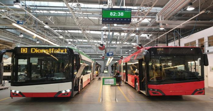 Buses pictured on the assembly line at the Solaris Bus & Coach plant in Bolechowo near Poznan,