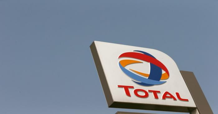 FILE PHOTO: The logo of Total oil company is pictured in Abuja