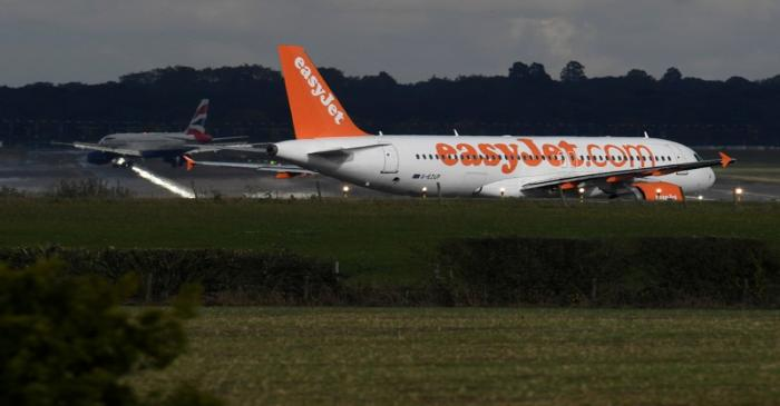 An EasyJet passenger aircraft  prepares for take off from Gatwick Airport in southern England,