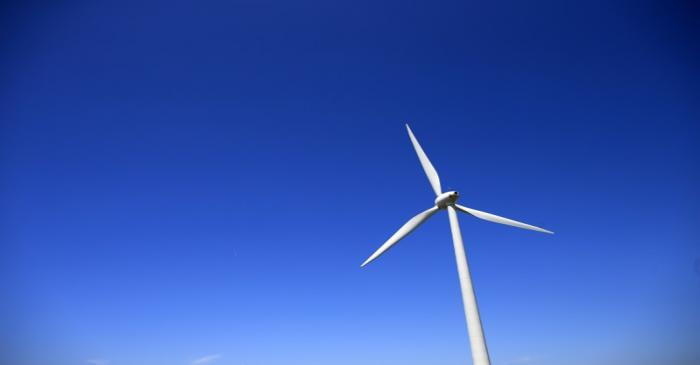 A views shows an E-66 wind turbine manufactured by German company Enercon in Nibas, Picardie