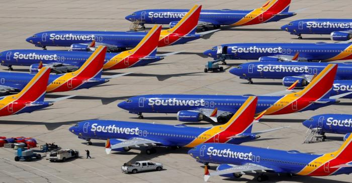 FILE PHOTO: A number of grounded Southwest Airlines Boeing 737 MAX 8 aircraft are shown parked