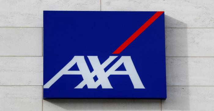 FILE PHOTO: Logo of insurer Axa is seen at the entrance of the company's headquarters in